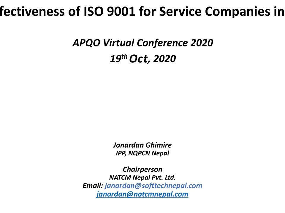 Effectiveness of ISO 9001, APQO