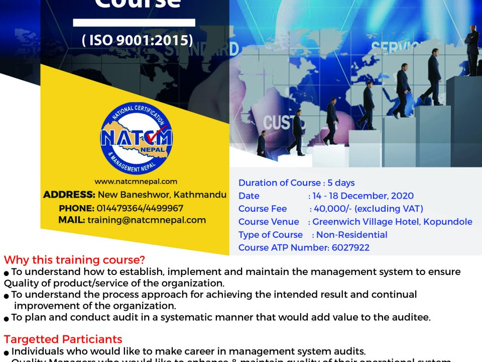 QMS Lead Auditor Training course in Nepal, Halal certification in nepal, QMS In nepal, ISO9001:2015 in nepal, iso 45001:2018 in nepal, iso 27001:2013 in nepal
